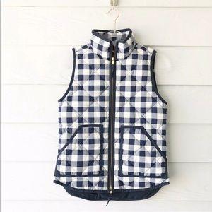 J. Crew Factory M Navy Plaid Vest Quilted